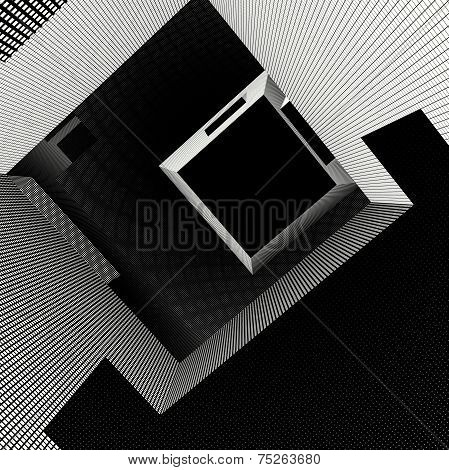 Labyrinth Interior With Grid Pattern In Black And White