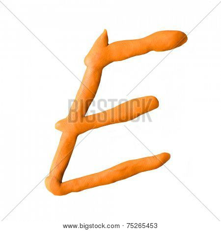 letter E from plasticine isolated on white background