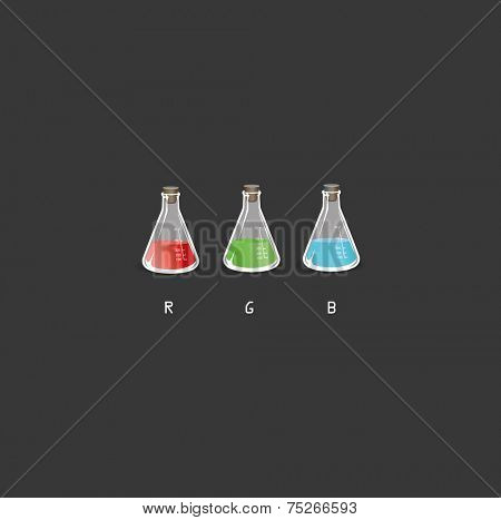 rgb flasks on black background vector illustration