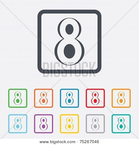 8 March Women's Day sign icon. Eight symbol.
