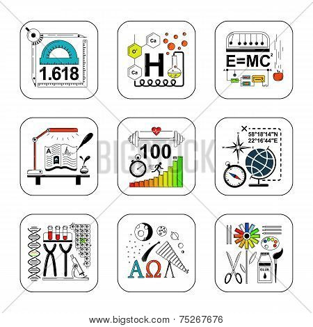 Set of education and science design concept icons.