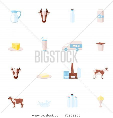 Milk flat icons set