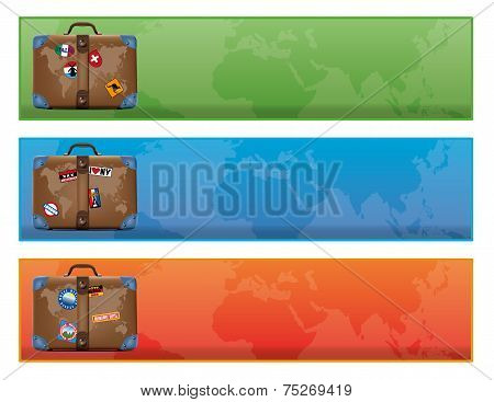 banner or sign with world traveler suitcase