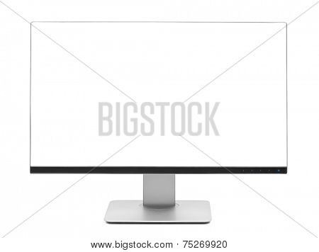 Computer LCD frameless wide monitor isolated on white
