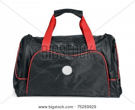 Black sports bag isolated