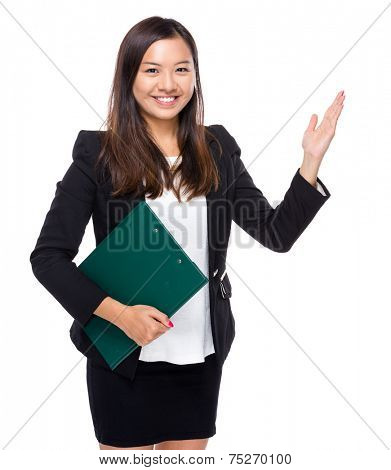 Singaporean businesswoman with clipboard and raiseing hand