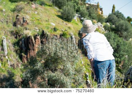 Woman In Nature From Behind