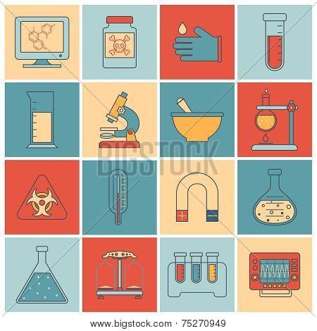 Laboratory equipment icons flat line