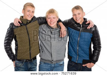 Friends peers in autumn jacket. Two of the boys twin brothers.