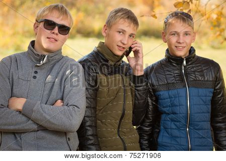Portrait of a group of young men standing in autumn park, two of the boys twin brothers. Image with Instagram-like filter
