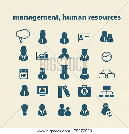 management, human resources, team icons, signs, illustrations set, vector