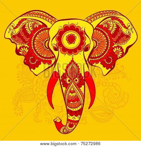 Vector Elephant on the Henna Indian Ornament