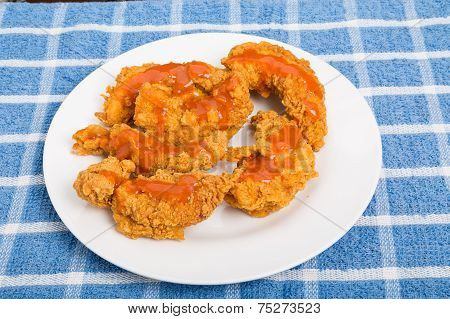 Chicken Strips Brushed With Hot Sauce