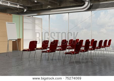 Empty seminar room with flipchart and many red chairs (3D Rendering)