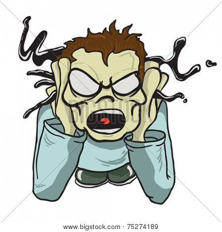 screaming boy holding head cartoon