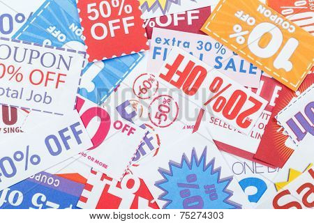 Colorful clipped multi valued grocery coupons
