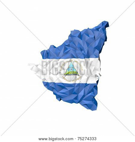 Low Poly Nicaragua Map With National Flag