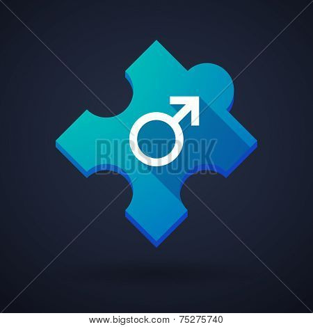 Puzzle Piece Icon With A Male Sign
