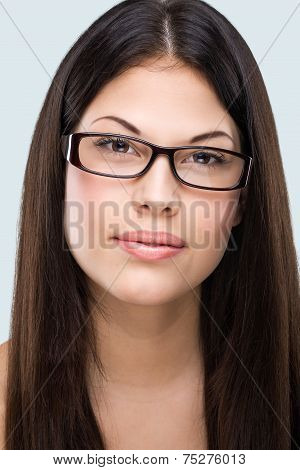 Brown hair brown eyes flawless face bespectacled woman