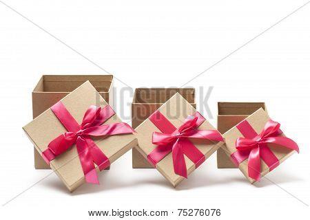 Three Open Gift Boxes