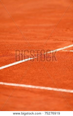 Baseline Footprint On A Tennis Court