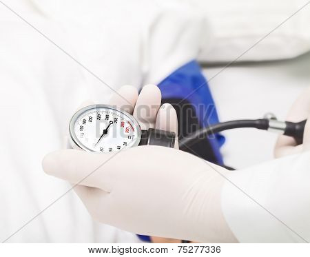 Measuring Blood Pressure In The Hospital.