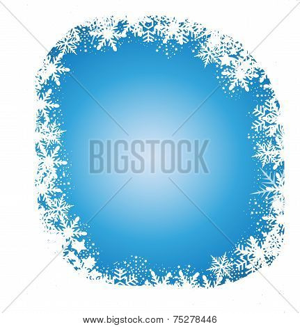 Christmas-Snowflakes Over Blue