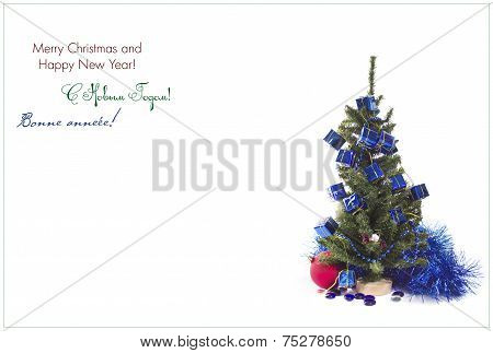 Christmas tree with blue and red decorations