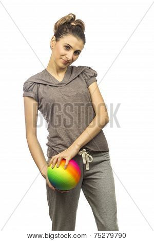 Young Woman Holdind In Her Hands A Ball