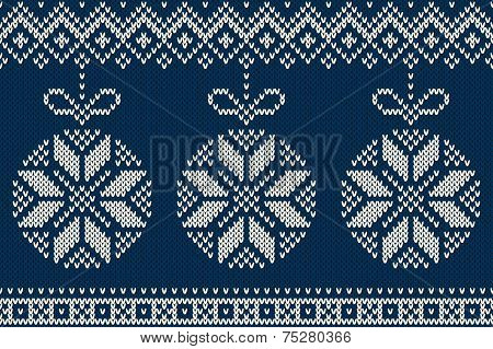 Winter Holiday Seamless Knitted Pattern With Christmas Tree Balls