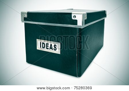 a black cardboard storage box with the word ideas written in the index card