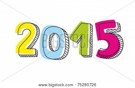 New Year 2015 hand drawn colorful vector sign