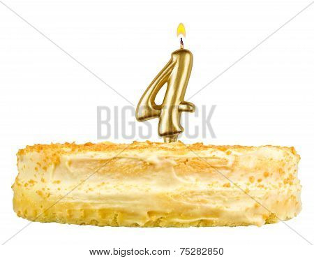 Birthday Cake With Candles Number Four Isolated