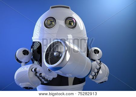 Robot Holding A Jet Engine. Technology Concept. Contains Clipping Path
