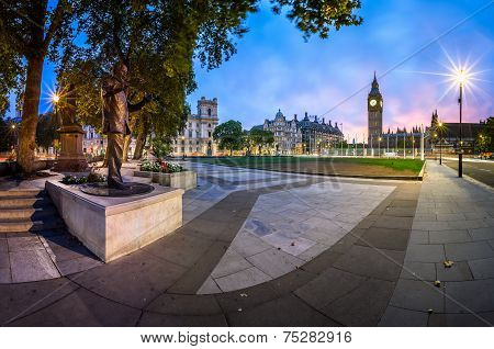 Panorama Of Parliament Square And Queen Elizabeth Tower In London, United Kingdom