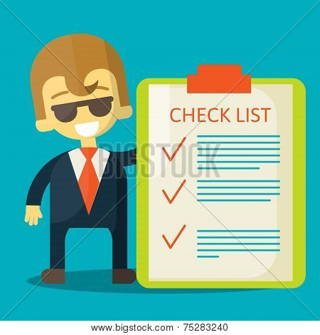 Happy businessman with checklist. All items are made . Success in business