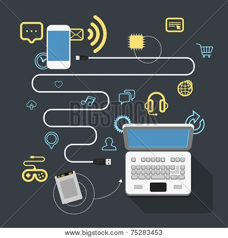 Different modern devices connection. Design elements