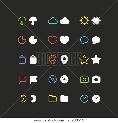 Color web interface icons clip-art. Design elements