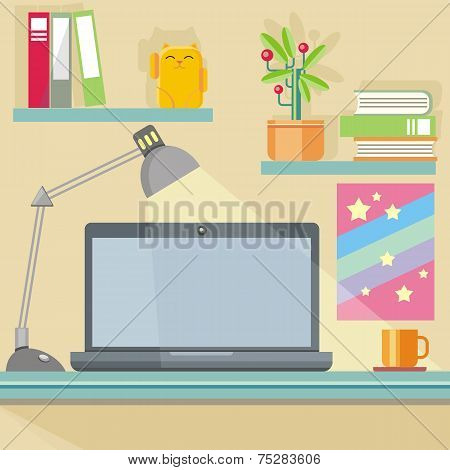 Workplace with notebook, lamp, books and furniture