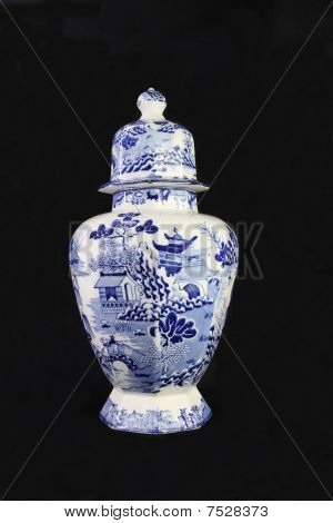 Antique Blue and White Urn