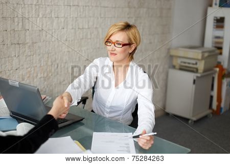 Young Businesswoman Handshake With Client In Office