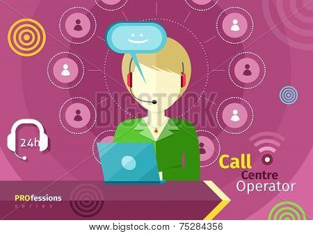 Female call centre operator with headset, laptop