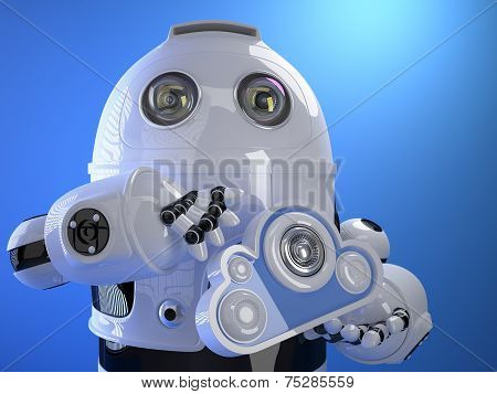 Robot With Cloud In His Hand. Cloud Computing Concept. Technology Concept