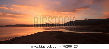 Red Sunlight Panorama Over Lake