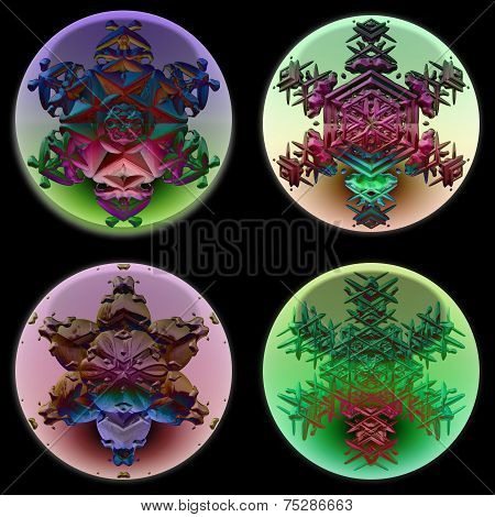 Ornamental snowflakes in glass spheres