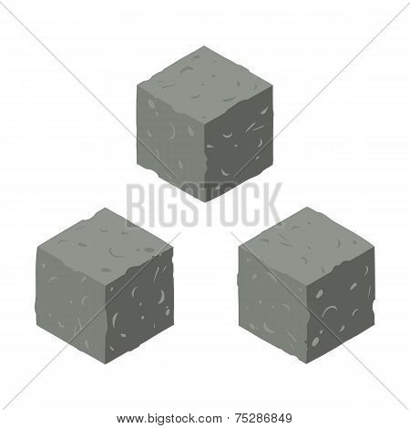 Isometric game brick cubes set.