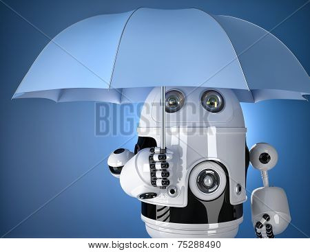 Robot With Umbrella. Security Concept. Contains Clipping Path