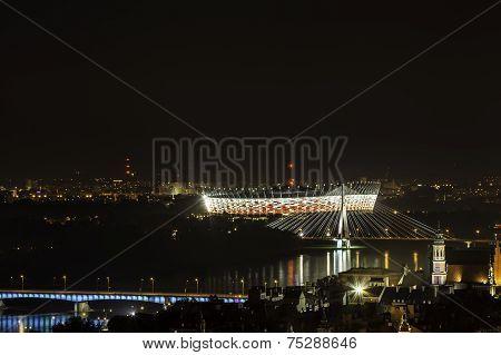 Warsaw Stadium At Night