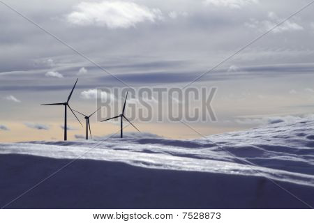 Aerogenerator Electric Windmills Snow Mountain Blurred Foreground