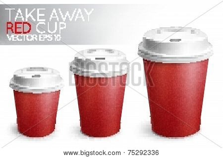 Take away paper cup red